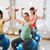 pregnant women with dumbbells and exercise balls stock photo © dolgachov