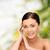 sorridente · mulher · jovem · saúde · mulher · mãos - foto stock © dolgachov