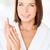 mujer · hermosa · blanco · albornoz · cama · portátil · sonrisa - foto stock © dolgachov