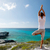 homem · ioga · costa · meditação · céu · água - foto stock © dolgachov
