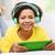 mulher · fones · de · ouvido · casa · música · tecnologia - foto stock © dolgachov