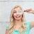 nieuwsgierig · vrouw · naar · vergrootglas · jonge · vrouw · meisje - stockfoto © dolgachov