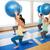 terhes · nő · testmozgás · fitnessz · labda · kék · fölött - stock fotó © dolgachov