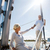 feliz · pareja · de · ancianos · vela · barco · yate · mar - foto stock © dolgachov
