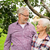 idős · pár · almafa · nyár · kert · gazdálkodás · kertészkedés - stock fotó © dolgachov