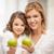 Mutter · Tochter · Bild · grünen · Äpfel · Mädchen - stock foto © dolgachov
