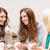 üç · genç · kızlar · beyaz - stok fotoğraf © dolgachov