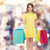 smiling little girl in dress with shopping bags stock photo © dolgachov
