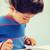 привлекательная · девушка · играет · компьютерная · игра · домой · привлекательный - Сток-фото © dolgachov