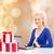 jonge · vrouw · kopen · geschenken · creditcard · christmas · home - stockfoto © dolgachov