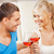 красивый · мужчина · стекла · вино · улыбаясь · девушки · лице - Сток-фото © dolgachov
