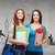 twee · glimlachend · studenten · zak · mappen · tablet - stockfoto © dolgachov