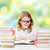 gelukkig · student · meisje · lezing · boek · school - stockfoto © dolgachov