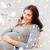 feliz · mulher · grávida · chamada · casa · gravidez - foto stock © dolgachov