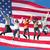 boldog · pár · amerikai · zászló · nemzetközi · barátság · szabadság - stock fotó © dolgachov