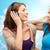 znajomych · słuchanie · muzyki · Błękitne · niebo · telefonu · włosy · wideo - zdjęcia stock © dolgachov