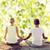 glimlachend · paar · yoga · buitenshuis · fitness - stockfoto © dolgachov