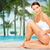 bela · mulher · tocante · pernas · praia · pessoas - foto stock © dolgachov