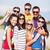 grupo · feliz · amigos · playa · verano - foto stock © dolgachov