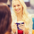 mosolyog · fiatal · nők · iszik · kávé · bevásárlóközpont · italok - stock fotó © dolgachov