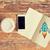 abrir · caderno · mesa · de · madeira · telefone · natal · decorações - foto stock © dolgachov