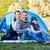 vidám · fiú · kempingezés · sátor · nyár · erdő · gyerekek - stock fotó © dolgachov