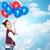 gelukkig · tienermeisje · ballonnen · witte · vrouw · partij - stockfoto © dolgachov