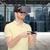 happy man in virtual reality headset with gamepad stock photo © dolgachov