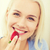 mutlu · kadın · yeme · çilek · ev · sağlıklı · beslenme - stok fotoğraf © dolgachov