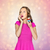 happy woman or teen girl eating birthday cupcake stock photo © dolgachov