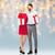 nő · piros · ajándékdobozok · gyönyörű · nő · kék · divat - stock fotó © dolgachov