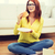 student eating hamburger and doing homework stock photo © dolgachov