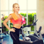 uśmiechnięty · kobieta · manierka · ręcznik · sportu - zdjęcia stock © dolgachov