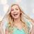 sorridente · mulher · jovem · cabelo · emoções · expressões - foto stock © dolgachov