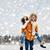 invierno · Pareja · feliz · a · cuestas · nieve · sonriendo - foto stock © dolgachov