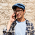 close up of man calling on smartphone outdoors stock photo © dolgachov