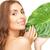 nő · zöld · levél · kép · fehér · boldog · egészség - stock fotó © dolgachov