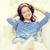 souriant · jeune · fille · casque · maison · technologie · musique - photo stock © dolgachov