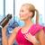 gelukkig · vrouw · drinkwater · fles · fitness - stockfoto © dolgachov
