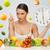 時間 · 健康食品 · クロック · クローズアップ · 白 · 赤 - ストックフォト © dolgachov