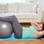 plus size woman exercising with fitness ball stock photo © dolgachov