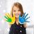 meisje · tonen · geschilderd · handen · onderwijs · school - stockfoto © dolgachov