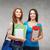 twee · aantrekkelijk · vriendinnen · college · studenten · boeken - stockfoto © dolgachov
