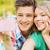 jonge · glimlachend · paar · zelfportret · smartphone - stockfoto © dolgachov