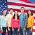 grupo · sonriendo · adolescentes · bandera · de · Estados · Unidos · amistad · personas - foto stock © dolgachov