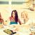 gülen · kızlar · kafe · plaj · yaz · tatil - stok fotoğraf © dolgachov