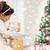gülen · küçük · kız · hediye · kutusu · tatil · Noel · çocukluk - stok fotoğraf © dolgachov