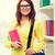 smiling female student with bag and notebooks stock photo © dolgachov