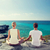 casal · ioga · praia · de · volta · fitness - foto stock © dolgachov