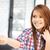 heureux · femme · plastique · carte · séduisant · jeune · femme - photo stock © dolgachov